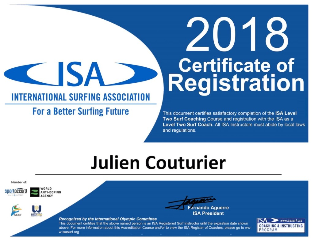 Certificate ISA Julien Couturier