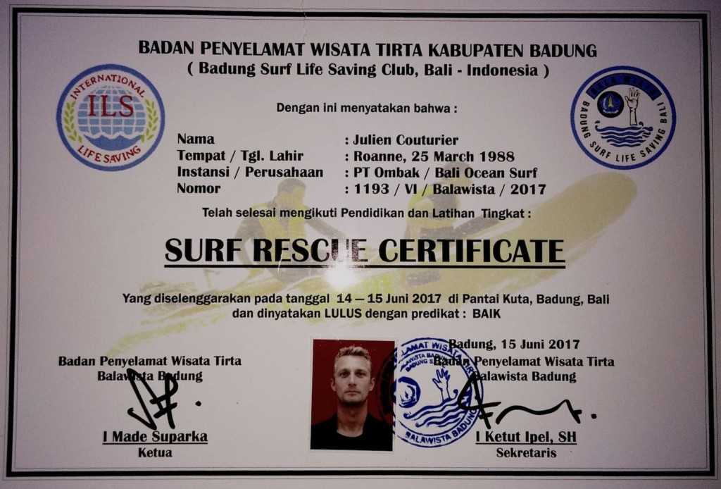 Surf Instructor - Surf Rescue Certificate
